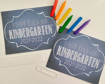 """First Day & Last Day of Kindergarten - 2021 - 2022 / Kindergarten printabe / First Day Printables / 8""""x10"""" / Instant Download Printable"""
