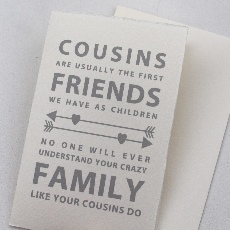 Vetter-Karte Cousins sind in der Regel die ersten