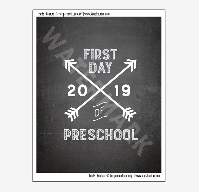 First Day of PRESCHOOL 2019 / first day of school print / image 0