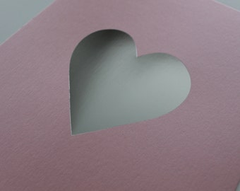 SILVER FOIL HEART - Silver Foil Heart Letterpressed Print on Luxurious Pink Shimmer Paper  - Size 8x10