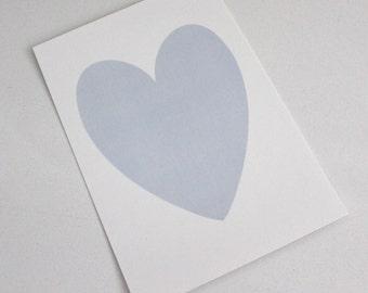 Blue Shimmer Heart on White Shimmer background - PRINT 5x7