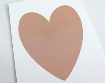 Peach Shimmer Heart on White Shimmer background - PRINT 5x7