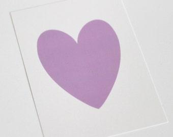 Light Purple Heart on White Shimmer background // heart print // lilac heart // heart prints // light purple coloured prints // PRINT 5x7