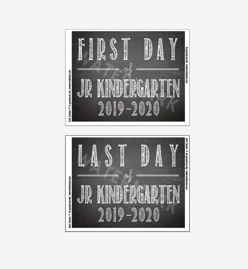 First Day of JR. KINDERGARTEN 2019-2020 / Chalkboard Print / image 0