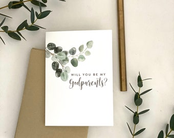 Will you be my Godparents? / Godparents card with eucalyptus leaves / Godparents card / baptism / christening / asking Godparents card