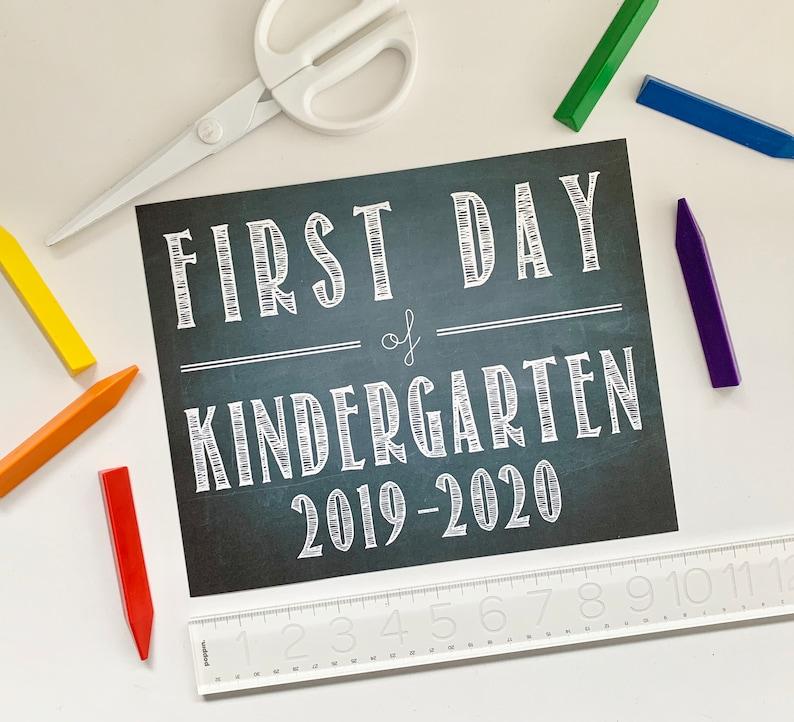 FIRST DAY of KINDERGARTEN 2019  2020  Chalkboard Print  image 0