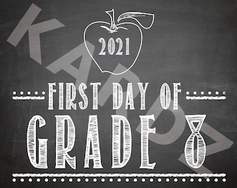 """FIRST DAY of Grade 8 - 2021 / Grade 8 printabe / First Day Printables / Grade Eight / DIY Print / 8""""x10"""" / Instant Download Printable"""