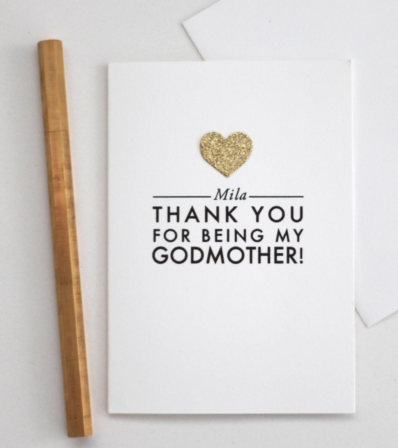 thank you for being my godmother custom name  card with