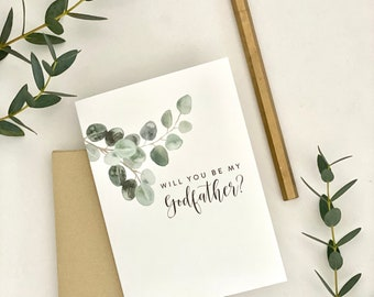 Will you be my Godfather? / Godfather card with eucalyptus leaves / Godfather card / baptism / christening / asking Godfather card