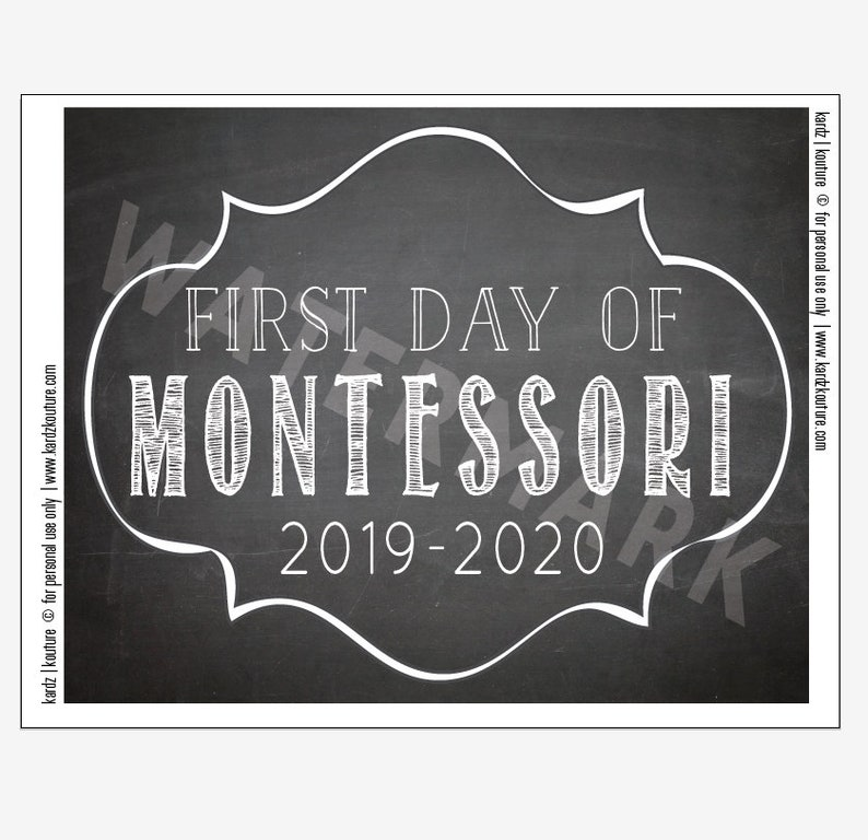 First Day of MONTESSORI 2019  2020 / Chalkboard Print / Size image 0