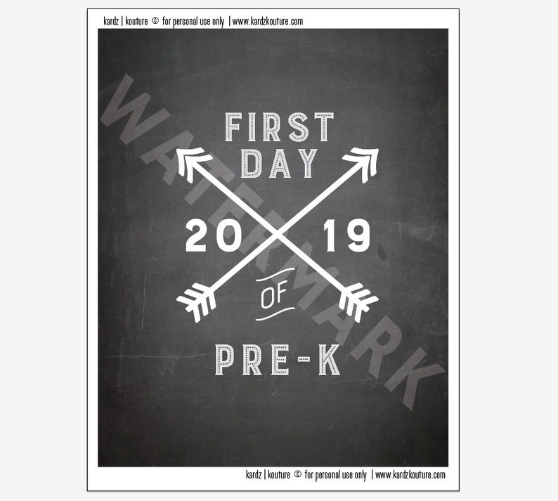 First Day of PRE-K 2019 / first day of school print / pre-k image 0