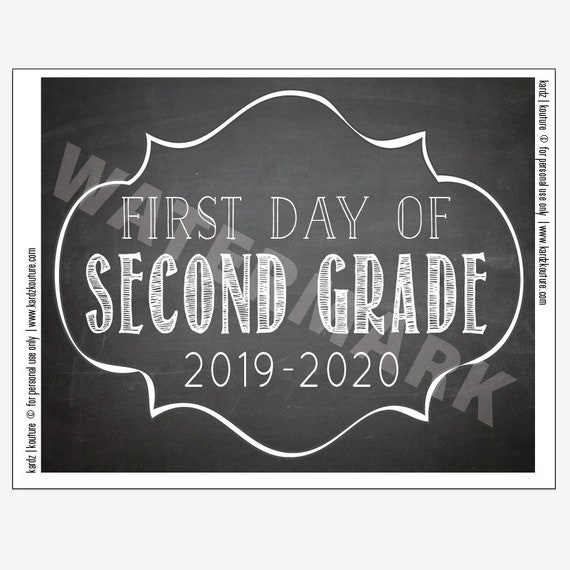 When Is The First Day Of Fall 2020.First Day Of Second Grade 2019 2020 Chalkboard Print Size 8x10 Instant Download First Day Second Grade Second Grade 2nd Grade