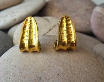 22k Gold earrings, yellow gold earrings,gold post earrings, solid gold earrings Vintage earrings, designer earrings bridal earrings gold