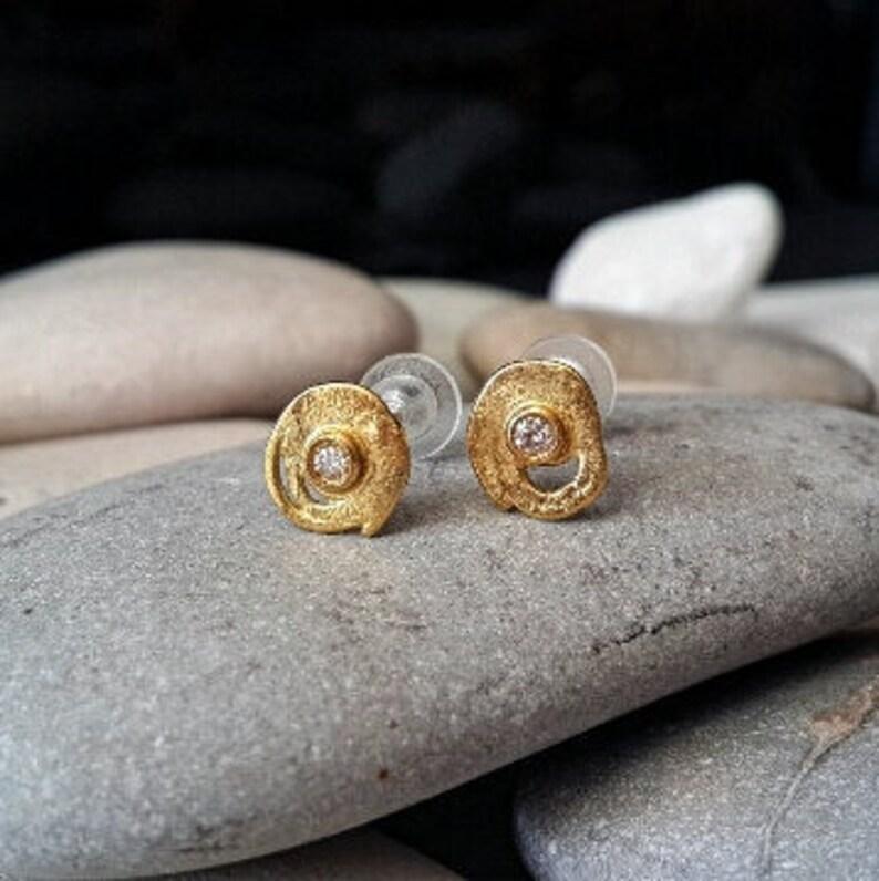 8373248da Contemporary earrings 18k Gold earrings designer earrings | Etsy