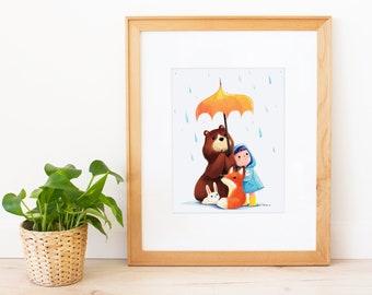 We Love the Rain Art Print