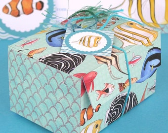 Fish Printable Gift or favour Box - aquarium, tropical fish - 2 templates to print and make yourself - Digital Instant Download B1010