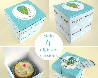 Hot Air Balloon Cupcake Boxes, 4 versions - blue, red, green & yellow, Printable diy favour boxes - Digital Instant Download B3001