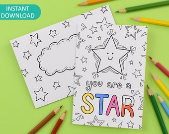 You Are A Star Printable Colour in Card and Envelope, teacher thank you, well done, note card, Digital Instant Download C014