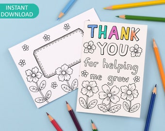 Thank You Teacher Printable Colour in Card and Envelope 'Thank you for helping me grow' - Digital Instant Download C002