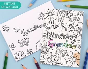 Happy Birthday Grandma Printable Colour in Card and Envelope, flowers and butterflies – Digital Instant Download C016