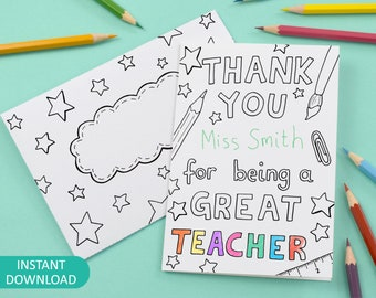 Printable Thank You For Being A Great Teacher Colour in Card and Envelope, kids colouring - Digital Instant Download C003