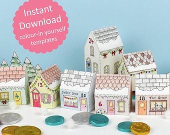 Advent Calendar Village, printable, colour-in templates makes 24 mini Christmas house boxes - Digital Instant Download B5001