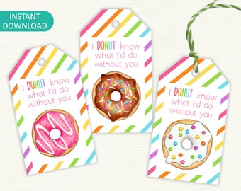 Donut Printable Labels / Gift Tags - 'I Donut know what I'd do without you', Valentine's Day tag, Mother's Day - Instant Download LT020