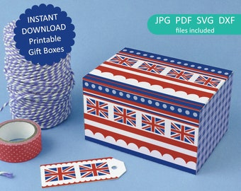 Printable Gift Box - British red, white and blue union jack flag design - 2 templates Rule Britannia, Instant Download B1001
