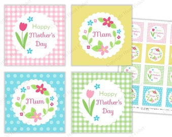 Mother's Day Spring Flowers cupcake toppers, printable party circles, tags - Mom, Mum and Mam included - Digital Instant Download CT032