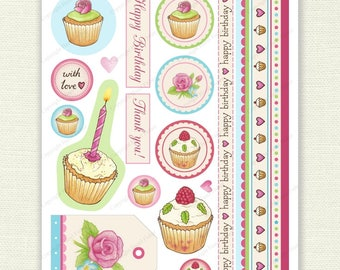 Cupcakes and Roses Printable Collage Sheet - card making, scrapbooking, collage, birthday, border strips - Digital Instant Download CS015