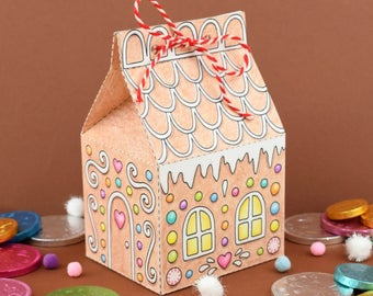 Printable Gingerbread House Box - colour in and make up yourself - favor box, Christmas decoration, Digital Instant Download B5004
