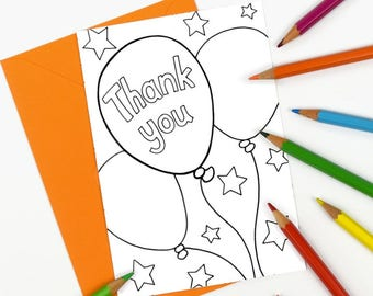 Printable Balloons Thank You Card, colour in notecard, child's birthday thank you, kids birthday party thank you - Digital Instant Download