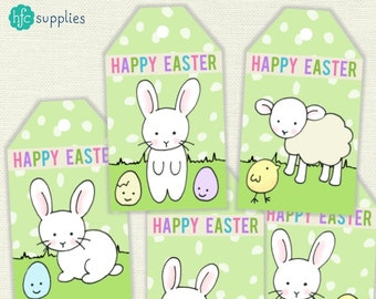 Cute Easter Friends Printable Labels / Gift Tags - white rabbits, lamb, chicks and eggs Easter tags - Instant Download L029
