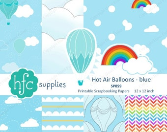 Hot Air Balloons Blue Scrapbook Paper Set Clouds Hand Drawn Rainbow Chevron Printable Papers