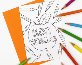 Printable Best Teacher thank you card, colour in teacher appreciation notecard - Digital Instant Download C004