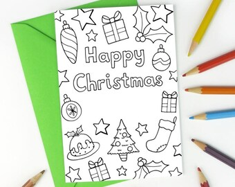 Printable Colour in Christmas Card kids colouring - Instant Download C009