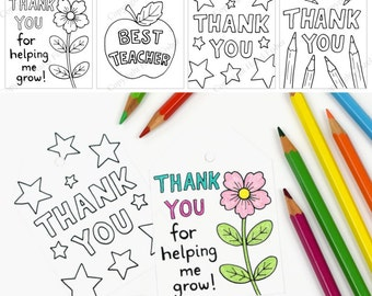 Printable Colour In Thank You For Helping Me Grow Etsy