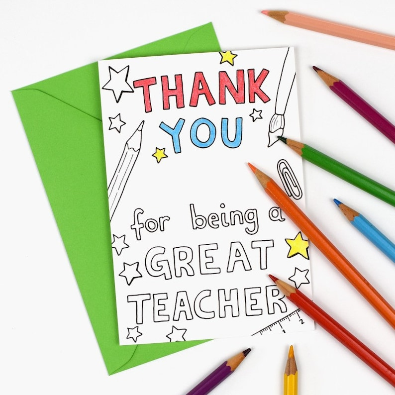 photograph about Thank You for Being a Great Teacher Printable identify Thank on your own for currently being a exceptional instructor Printable Shade within just Card - tutor or instructor appreciation, Electronic Quick Obtain C003