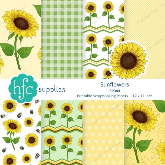 picture about Printable Patterned Paper called Sunflowers Electronic Papers - printable sbook paper 12x12