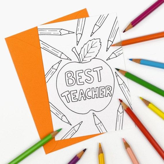 Digital Instant Download C004 colour in teacher appreciation notecard Printable Best Teacher thank you card