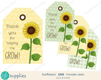 Sunflower Printable Labels - Thank you for helping me Grow! - teacher appreciation, thank you gift tag - Digital Instant Download L016