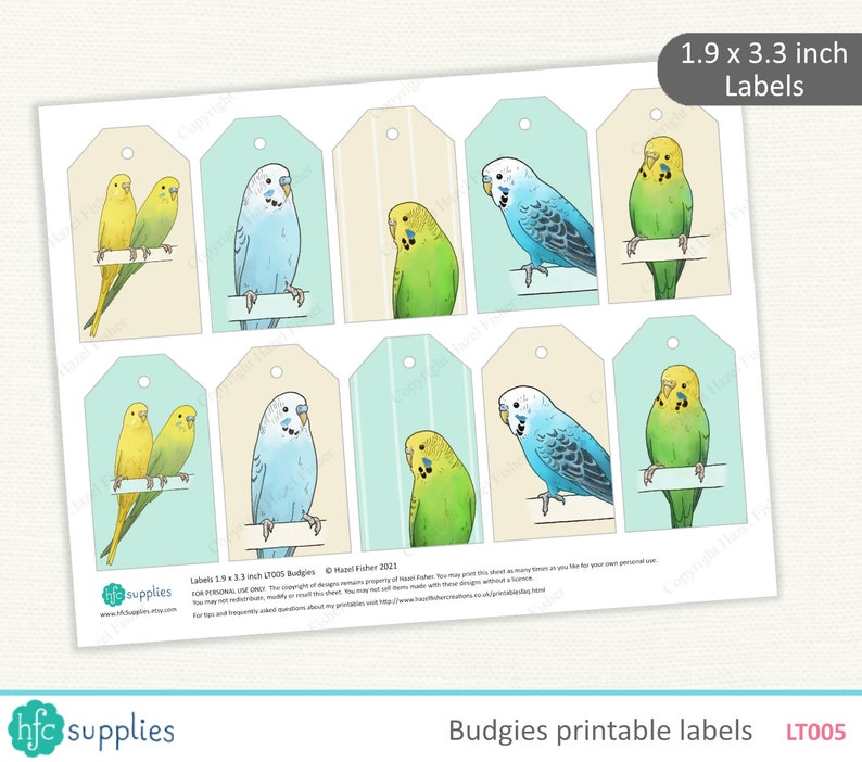 Budgies Printable Labels \u2013 pet budgerigar gift tag \u2013 Digital Instant Download LT005