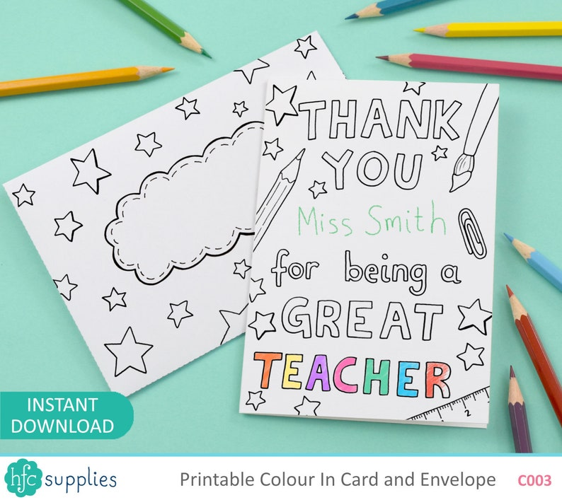 photo relating to Thank You for Being a Great Teacher Printable named Printable Thank On your own For Getting A Perfect Trainer Shade inside Card and Envelope, little ones colouring - Electronic Immediate Down load C003