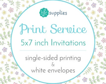 Printed Invitations / Announcements Add On - 5x7 inch Professional Printing Service, Standard Matte Card Stock, Single Sided with Envelopes