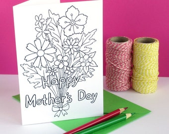 Colour In Mother's Day Card - printable card, hand drawn bunch of flowers - Digital Instant Download C011