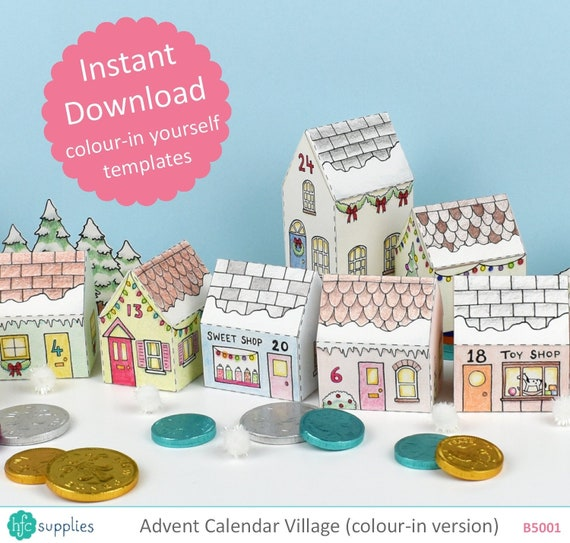graphic about Printable Christmas Village Template named Arrival Calendar Village, printable, coloration-inside templates