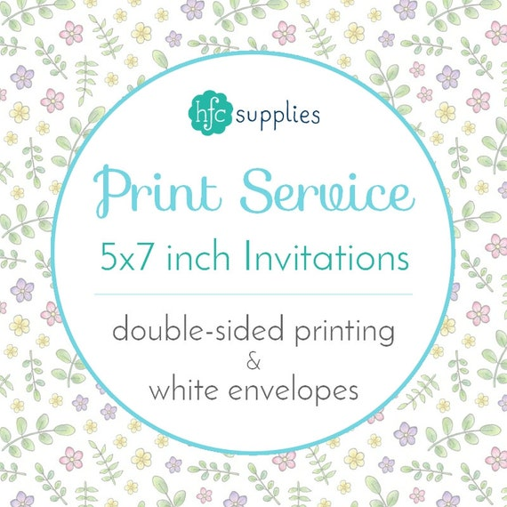 printed invitations announcements add on 5x7 inch double etsy