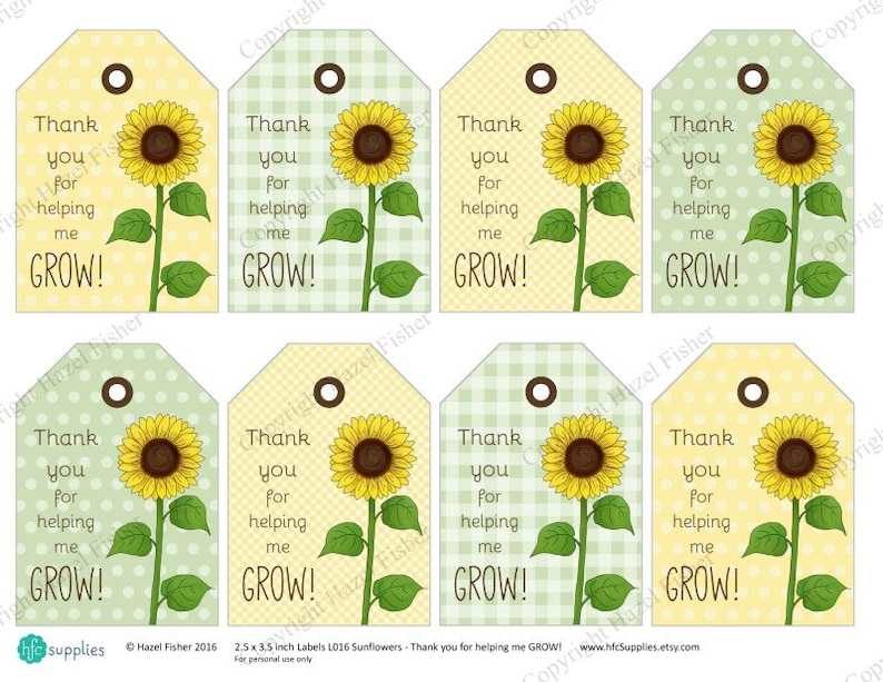 Sunflower Printable Labels Thank You For Helping Me Grow Etsy