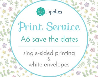 Printed Save the Date cards / RSVP cards Add On - A6 Professional Printing Service, Standard Matte Card Stock, Single Sided with Envelopes
