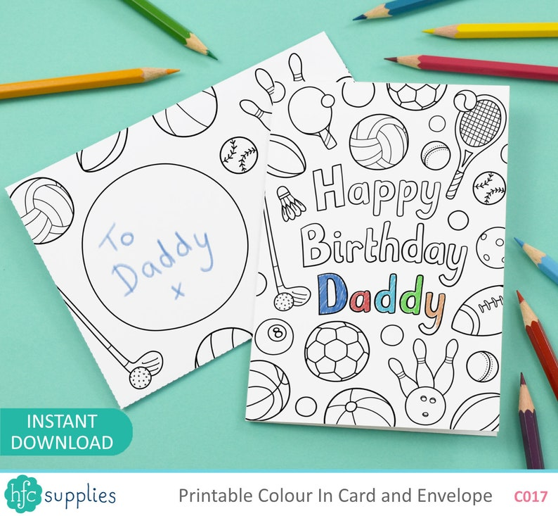Happy birthday Daddy Printable Colour In Card and Envelope ...